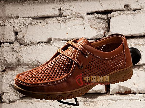 骆驼褐色网面系带休闲皮鞋2011春款
