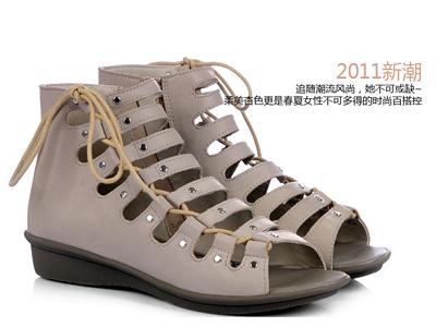四季风专柜正品 2011春夏新款罗马水染羊皮平跟凉鞋 td403
