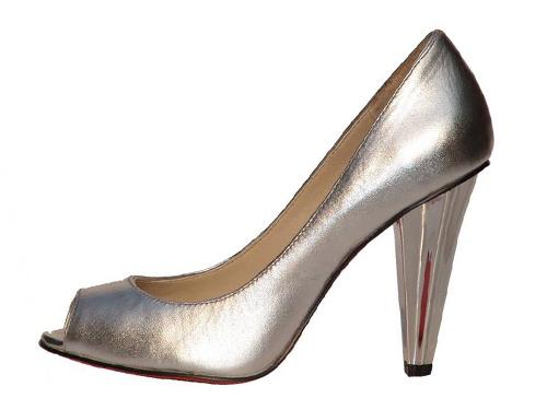 欧美最新流行简洁大方全羊皮梅花跟高跟鱼嘴鞋