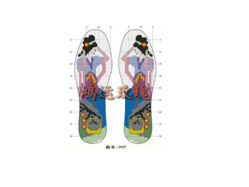 十字绣针孔鞋垫十字绣图纸手工鞋垫