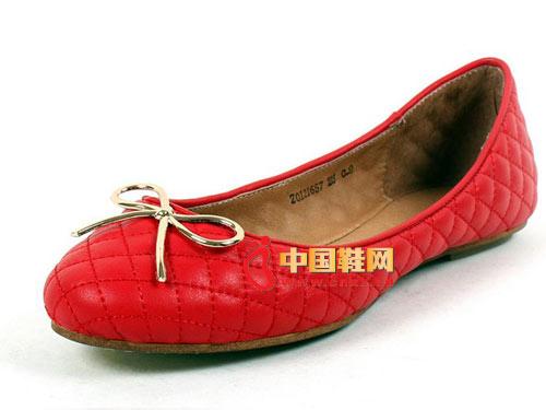 westlink西遇Z0121657牛皮2012女新款蝴蝶结车线菱格浅口单鞋