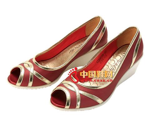 卡曼其C069029款鱼嘴坡跟舒适百搭女凉鞋原价669元 红色