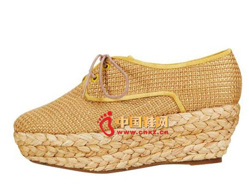 斯艾依金色系带坡跟鞋编织鞋05
