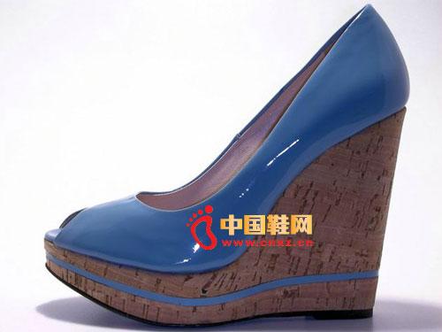 歌斯东尼蓝色高跟鱼嘴鞋时尚女鞋2055