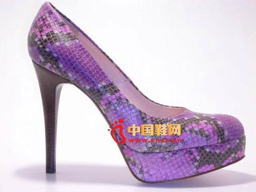 歌斯东尼紫色防水台细跟时尚凉鞋4014