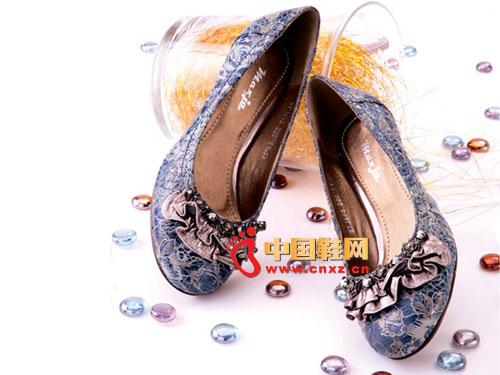 新虎威蓝色镶珠鞋花真皮女鞋Y716-3-2