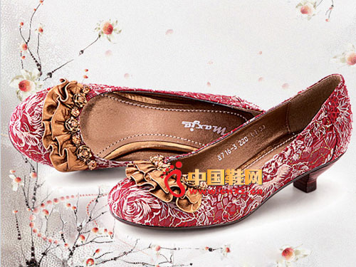 新虎威红色短跟女士必备真皮女鞋Y716-3