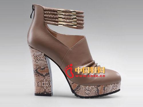 梦芭莎摩登女郎性感蛇纹粗跟增高女鞋121512305
