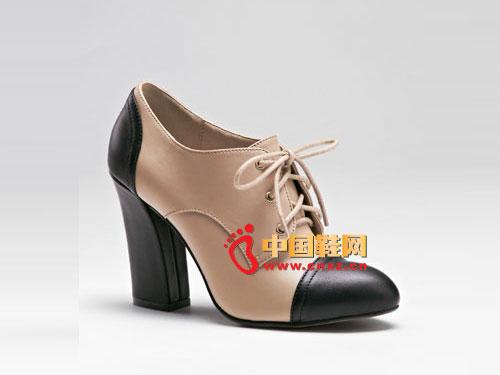 梦芭莎欧美时尚复古拼接粗跟女鞋 121012304