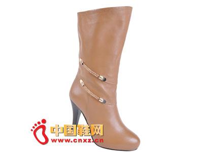 2012台湾红蜻蜓秋冬新款上市 棕色简约经典款高跟女靴0033