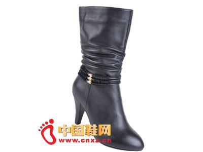 2012台湾红蜻蜓秋冬新款上市 黑色简约经典款高跟女靴0034