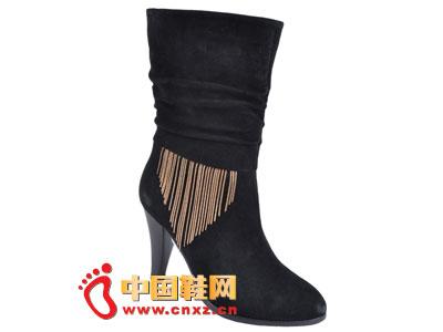 2012台湾红蜻蜓秋冬新款上市 黑色金属流苏时尚高跟女靴0035