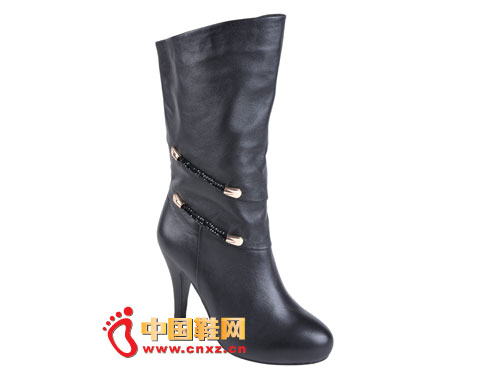 2012台湾红蜻蜓秋冬新款上市 黑色简约经典款高跟女靴0036