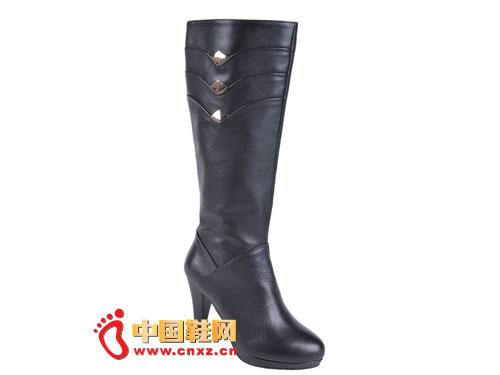 2012台湾红蜻蜓秋冬新款上市 黑色简约经典款高帮女靴0039