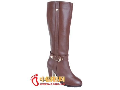 2012台湾红蜻蜓秋冬新款上市 咖啡色时尚系扣高帮女靴0040
