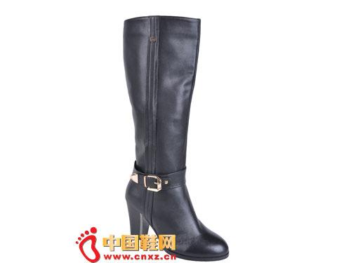 2012台湾红蜻蜓秋冬新款上市 黑色时尚系扣高帮女靴0041
