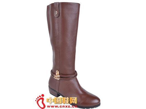 2012台湾红蜻蜓秋冬新款上市 咖啡色简约系扣高帮女靴0047