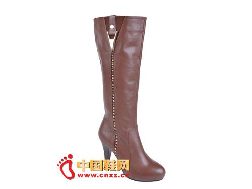 2012台湾红蜻蜓秋冬新款上市 咖啡色简约高帮女靴0048