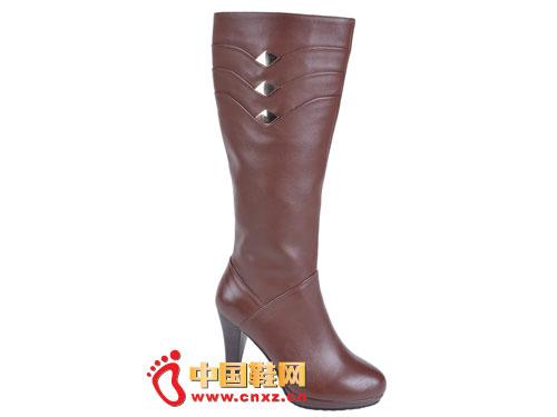 2012台湾红蜻蜓秋冬新款上市 咖啡色简约高帮女靴0049