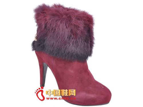 2012台湾红蜻蜓秋冬新款上市 酒红色奢华羊毛高跟女靴0074