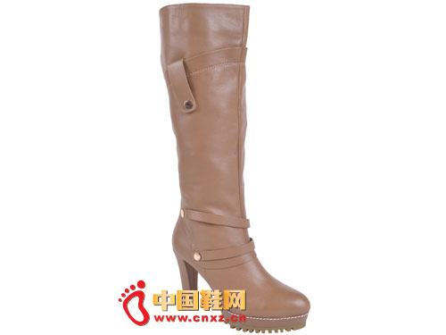 2012台湾红蜻蜓秋冬新款上市 棕色简约经典款高跟女靴0120