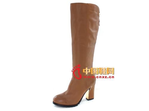 丝迪芬妮2012秋冬季棕色圆头粗跟直筒时尚女靴SD20028新款上市
