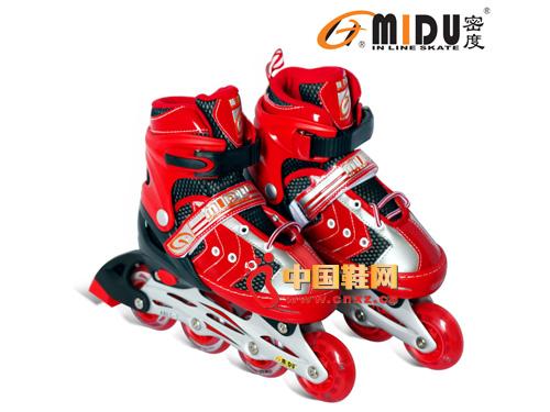 密度红色直排儿童冰鞋901