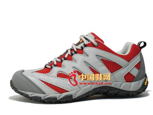 宝驼灰红色系带透气简便时尚男女登山鞋02