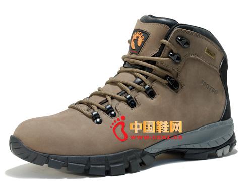 宝驼棕色系带防滑简便时尚男女登山鞋03