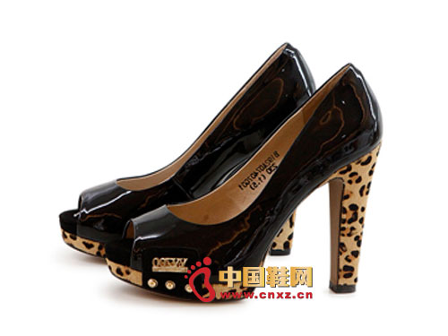 金蒂贝尔时尚女鞋 2012黑色时尚高跟豹纹鱼嘴女鞋0290