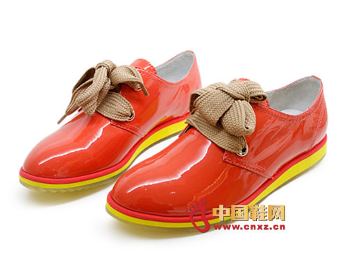 金蒂贝尔时尚女鞋 2012橙红色时尚系带亮皮平底女鞋0296