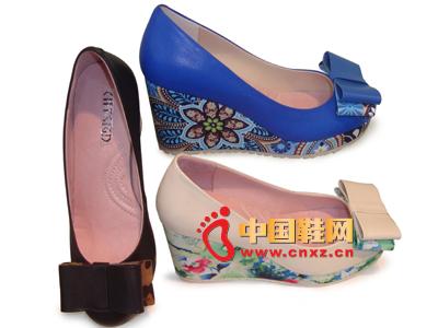 都市情人2013春季新品蝴蝶结花纹坡跟女单鞋