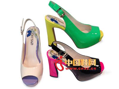 都市情人2013春季新品糖果色拼色系扣高跟女凉鞋