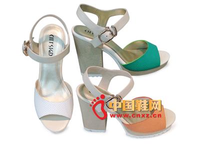 都市情人2013春季新品拼色系扣粗跟高跟女凉鞋