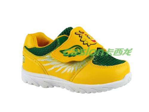 卡西龙2013春夏新款黄色系扣网布透气儿童休闲鞋NB123X1762-01