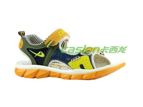 卡西龙2013春夏新款黄色EVA系扣防滑儿童凉鞋MB223X3916-01