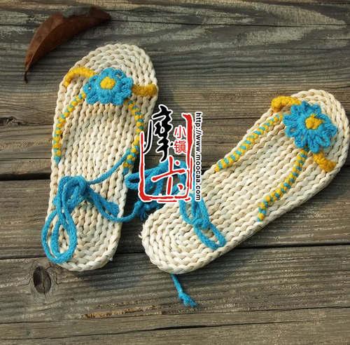 玉米皮草编织手工艺凉拖鞋草鞋批发