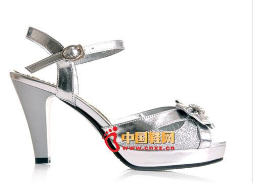尔2012春季白色豹纹蝴蝶结带扣时尚鱼嘴鞋m外贸服装定做图片