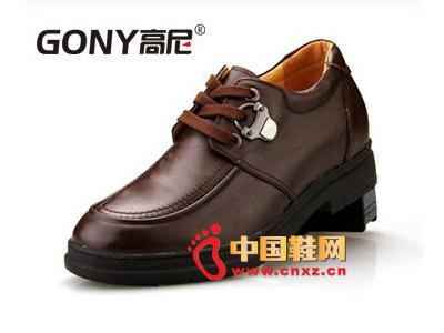 男士 时尚 高尼/2012棕色高尼休闲皮鞋,男士时尚系带增高鞋66621103