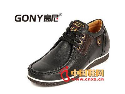黑色/2012黑色高尼休闲皮鞋,男士时尚系带增高鞋66821602