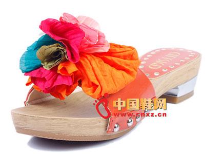 女鞋 时尚 花朵 都市/都市情人女士休闲橙色彩色花朵鞋饰时尚女鞋27