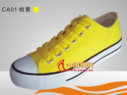 中国 系带/远步布鞋桔黄系带休闲硫化鞋C......