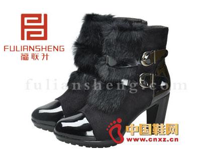 北京/福联升老北京布鞋2012黑色时尚系扣中跟女靴FLB/642034