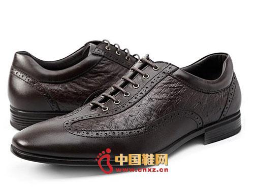 时尚 英伦/龙派秋冬新款上市2012咖啡色时尚系带英伦风休闲皮鞋LP122262