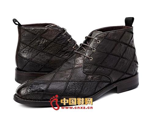 时尚 英伦/龙派秋冬新款上市2012浅棕色时尚系带英伦风真皮男靴LP122371