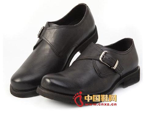 黑色/龙派秋冬新款上市2012黑色时尚系扣优质小牛皮男鞋LP122113