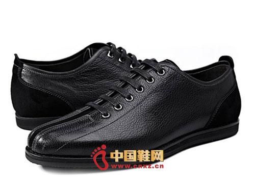 黑色/龙派秋冬新款上市2012黑色时尚系带英伦百搭休闲男鞋LP122412