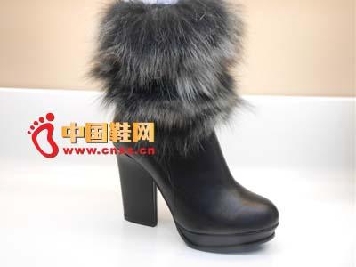 黑色 广州市/登高2012新款时尚百搭粗跟黑色毛绒防水台真皮高跟女靴