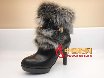 黑色 大方/必登高2012新款时尚百搭黑色防水台简款大方毛绒真皮高跟女靴