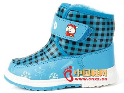 新款儿童时尚雪地靴批发 雪地鞋 冬季格子魔术贴保暖雪地靴童鞋